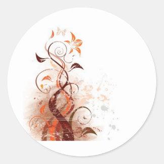 Graphic Design Floral Round Sticker