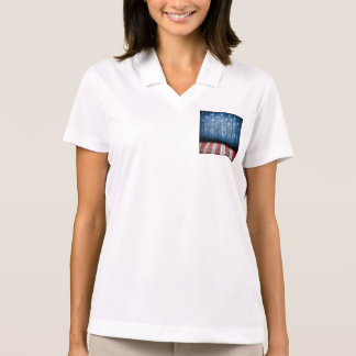 graphic design, us flag colors and decor on wood polo t-shirts