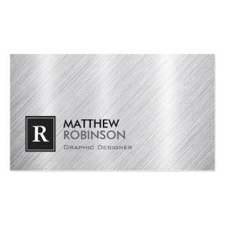 Graphic Designer - Brushed Metal Monogram Pack Of Standard Business Cards