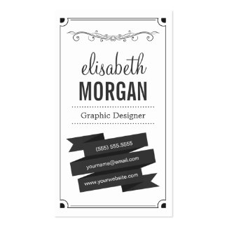 Graphic Designer - Retro Black and White Pack Of Standard Business Cards