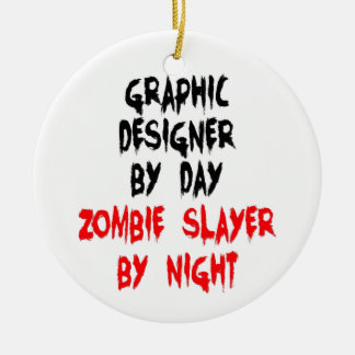 Graphic Designer Zombie Slayer Christmas Ornament