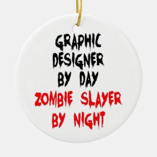 Graphic Designer Zombie Slayer Round Ceramic Decoration
