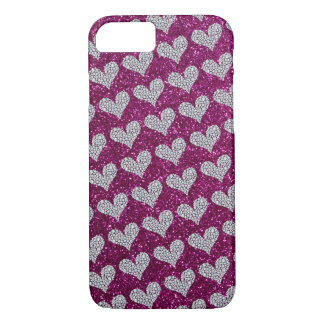 Graphic Diamond Hearts Purple Glitter Background iPhone 8/7 Case
