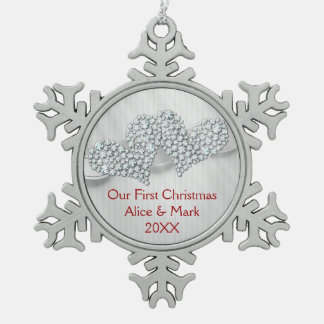 Graphic Diamonds Hearts | Our First Christmas Pewter Snowflake Decoration