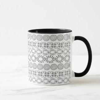 Graphic Floral Design Mug
