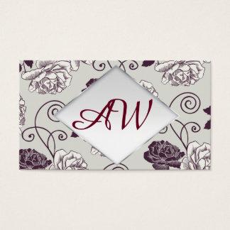 Graphic floral pattern. Foiled frame. Monogramm