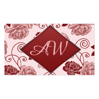 Graphic floral pattern. Foiled frame. Monogramm Pack Of Standard Business Cards