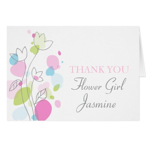 Graphic floral wedding flower girl thanks card