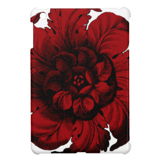 Graphic Flower in Black and Red iPad Mini Cover