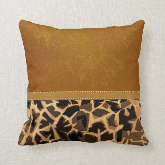 Graphic Giraffe Print Digital Distressed Leather Throw Pillow