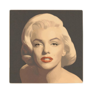 Graphic Gray Marilyn Wood Coaster