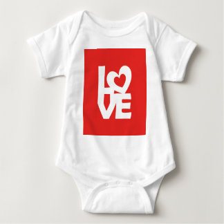 Graphic illustration I love You with heart on talk Baby Bodysuit