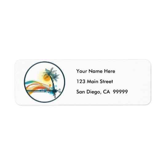 Graphic Logo of Palm Trees, Waves & Sun in Circle Return Address Label