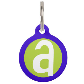 Graphic Lowercase Letter A Custom Initial Pet Name Tag