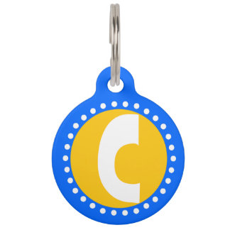 Graphic Lowercase Letter C Custom Initial Pet Name Tag