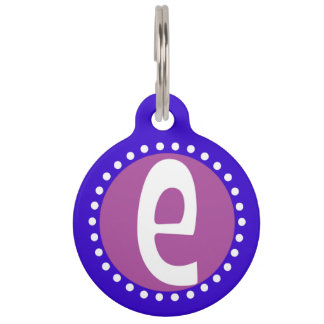 Graphic Lowercase Letter E Custom Initial Pet Name Tag