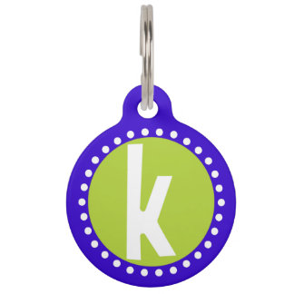 Graphic Lowercase Letter K Custom Initial Pet ID Tag