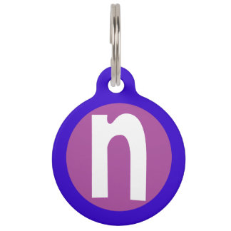 Graphic Lowercase Letter N Custom Initial Pet Name Tag