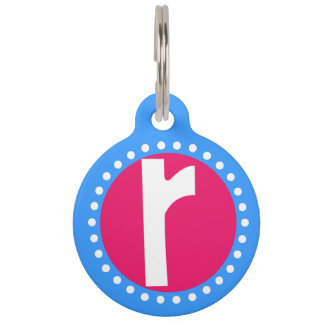 Graphic Lowercase Letter R Custom Initial Pet Tags