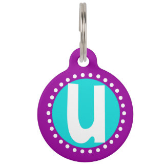 Graphic Lowercase Letter U Custom Initial Pet Name Tags