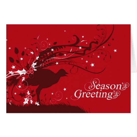 Graphic lyrebird red Christmas card