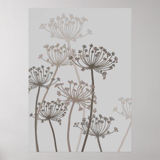 Graphic modern flower chervil grey poster print