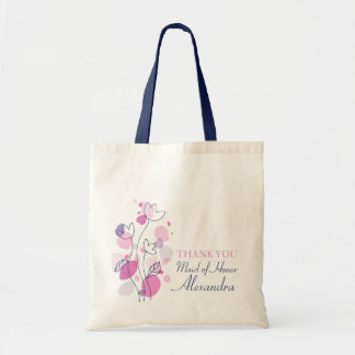 Graphic modern flower wedding maid of honor bag