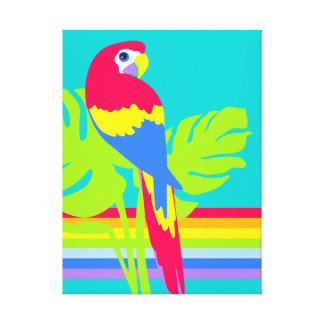 Graphic modern macaw tropical rainbow canvas print