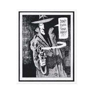 Graphic novel hero pointing a gun canvas print
