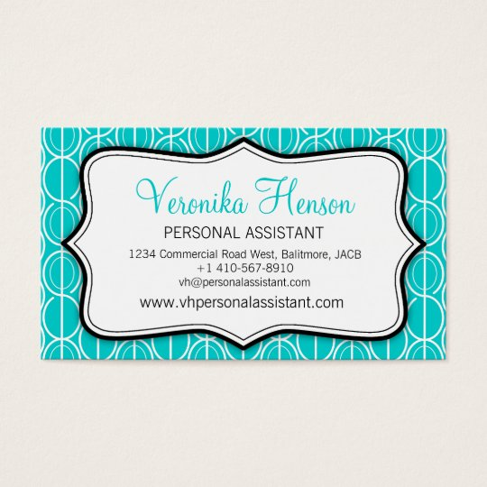 Graphic ovals aqua, black & white business card