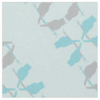 graphic owls outline repeat teal grey pattern fabric