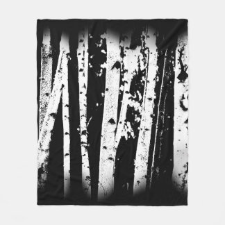 Graphic Paper Birch Trees Black and White Rustic Fleece Blanket