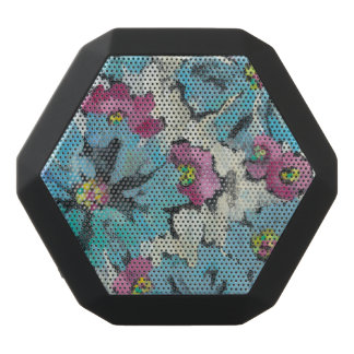 Graphic Pink and Blue Floral Black Bluetooth Speaker