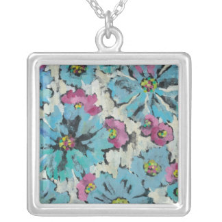 Graphic Pink and Blue Floral Silver Plated Necklace