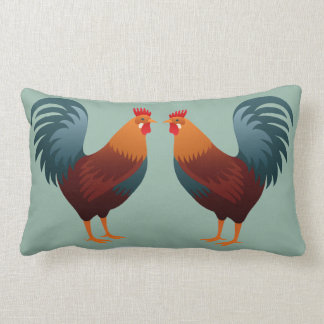 Graphic Roosters Lumbar Cushion