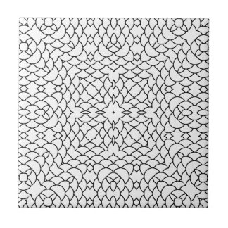 Graphic Scales Geometric Black and White Pring Small Square Tile