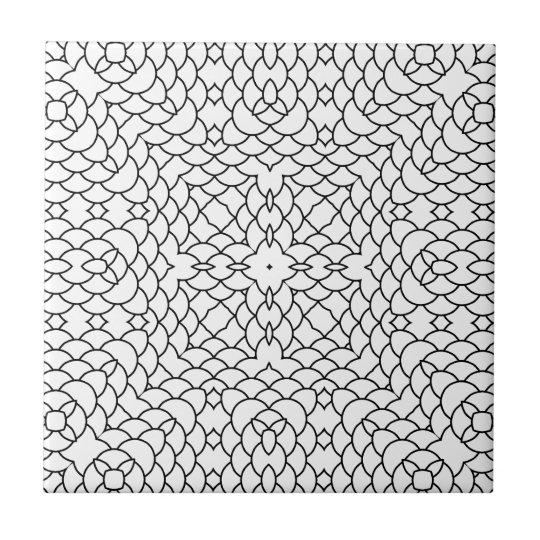 Graphic Scales Geometric Black and White Pring Tile