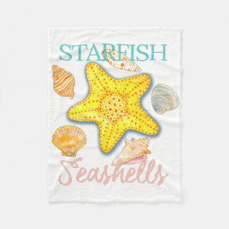 Graphic Seashells and Starfish with Words Fleece Blanket
