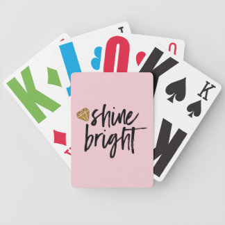 Graphic Shine Bright Text With Gold Diamond Bicycle Playing Cards