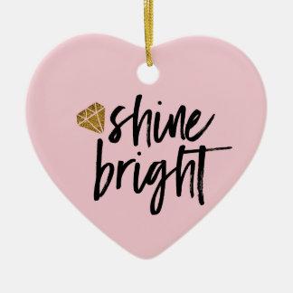 Graphic Shine Bright Text With Gold Diamond Ceramic Heart Decoration