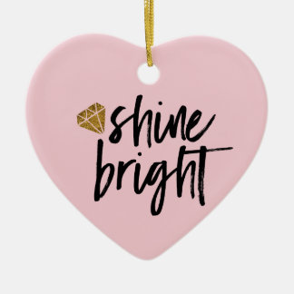Graphic Shine Bright Text With Gold Diamond Christmas Ornament