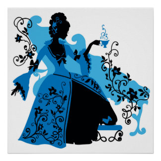 Graphic silhouette of a vintage woman poster