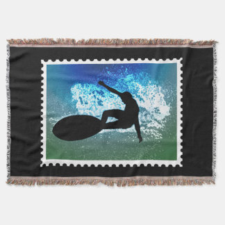 Graphic Silhouette of Surfer in Ocean Wave Stamp