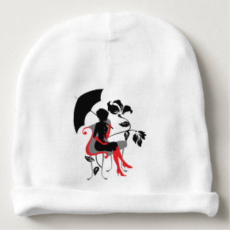 Graphic silhouette of young woman with umbrella baby beanie