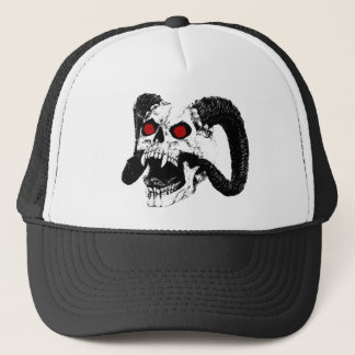 Graphic skull trucker hat