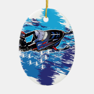 Graphic Snowmobiler Christmas Ornament
