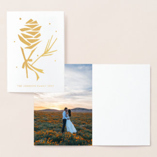 Graphic Snowy Pinecone Holiday Christmas Photo Foil Card