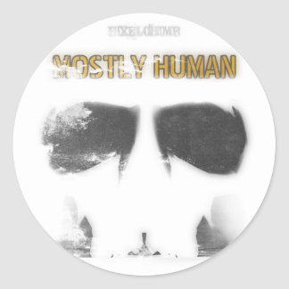 Graphic Stencil: Mostly Human Round Sticker