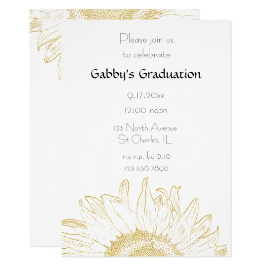 Graphic Sunflower Graduation Party Invitation