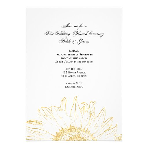 Graphic Sunflower Post Wedding Brunch Invitation
